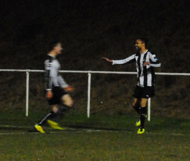 Gullick celebrates his opening goal for Pontypridd Town.